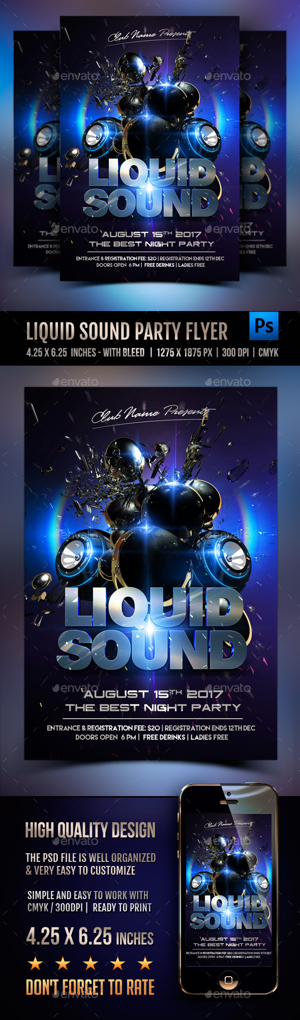 Liquid Sound Party Flyer - Clubs & Parties Events