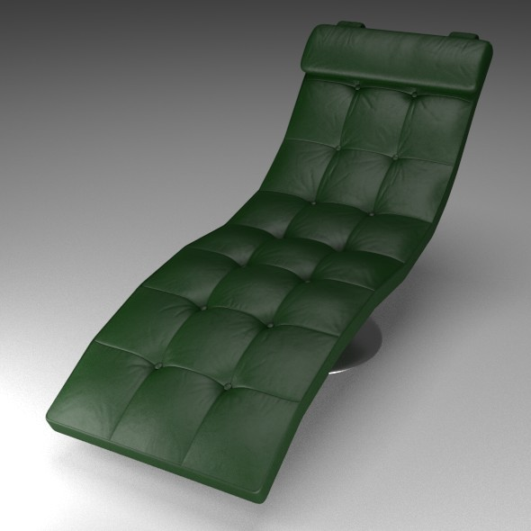 Green Leather Lounger - 3DOcean Item for Sale
