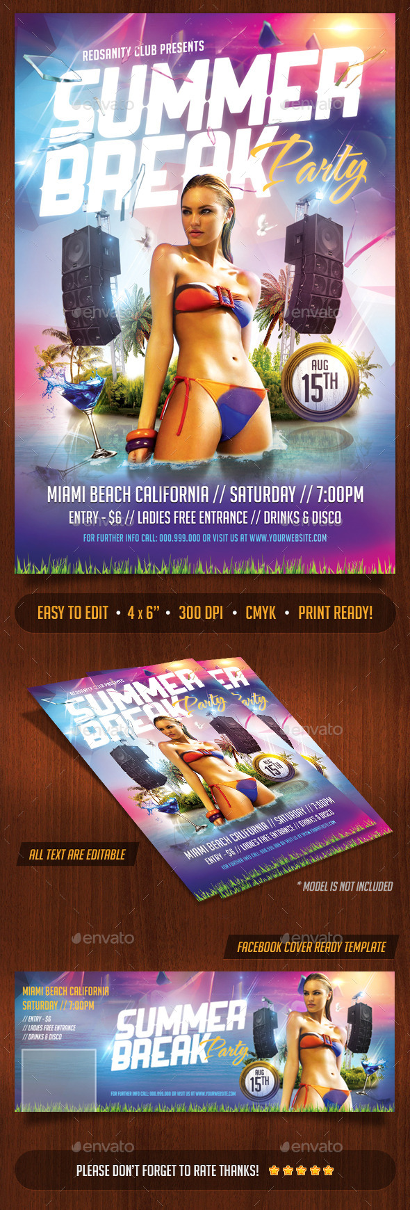 Summer Break Party Flyer Plus FB Cover - Clubs & Parties Events