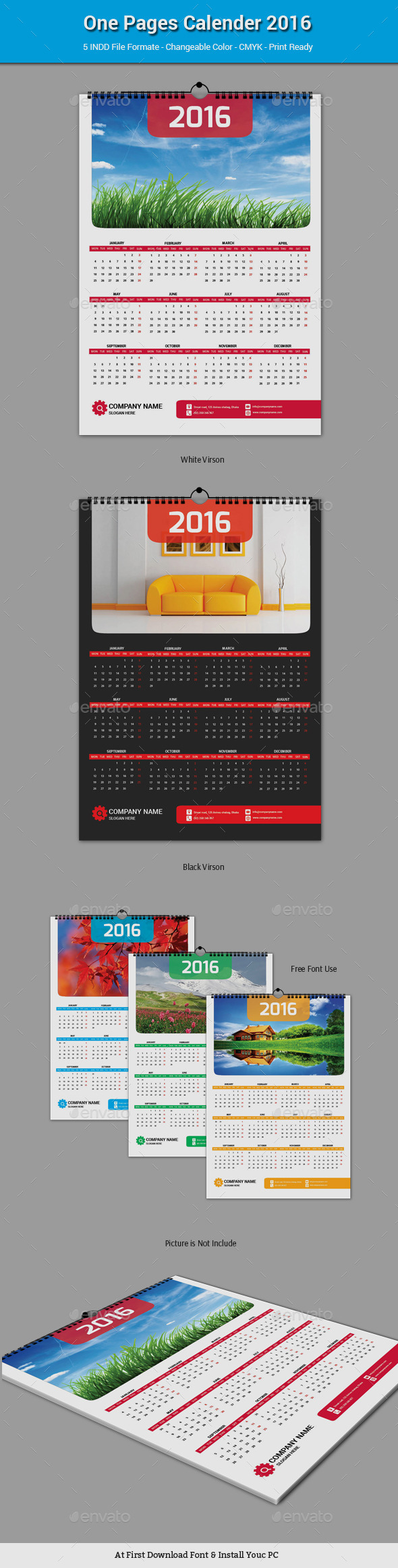 One Pages Calender 2016 - Calendars Stationery