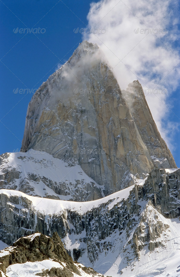 The peak of Mount Fitz Roy - Stock Photo - Images