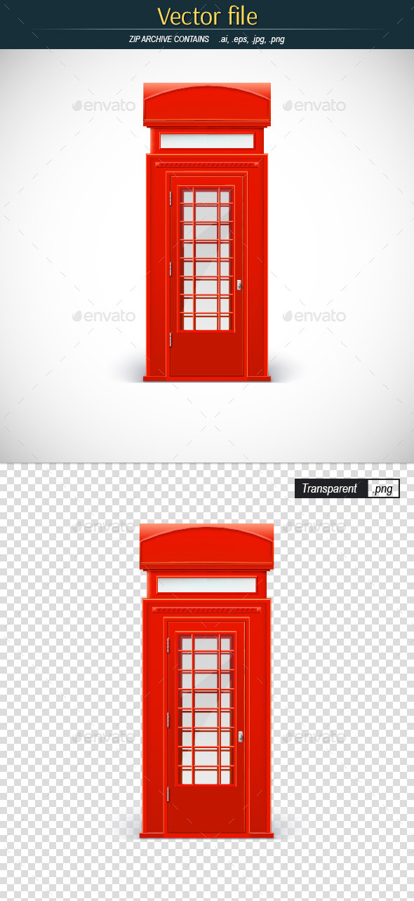 Red Telephone Box - Man-made Objects Objects