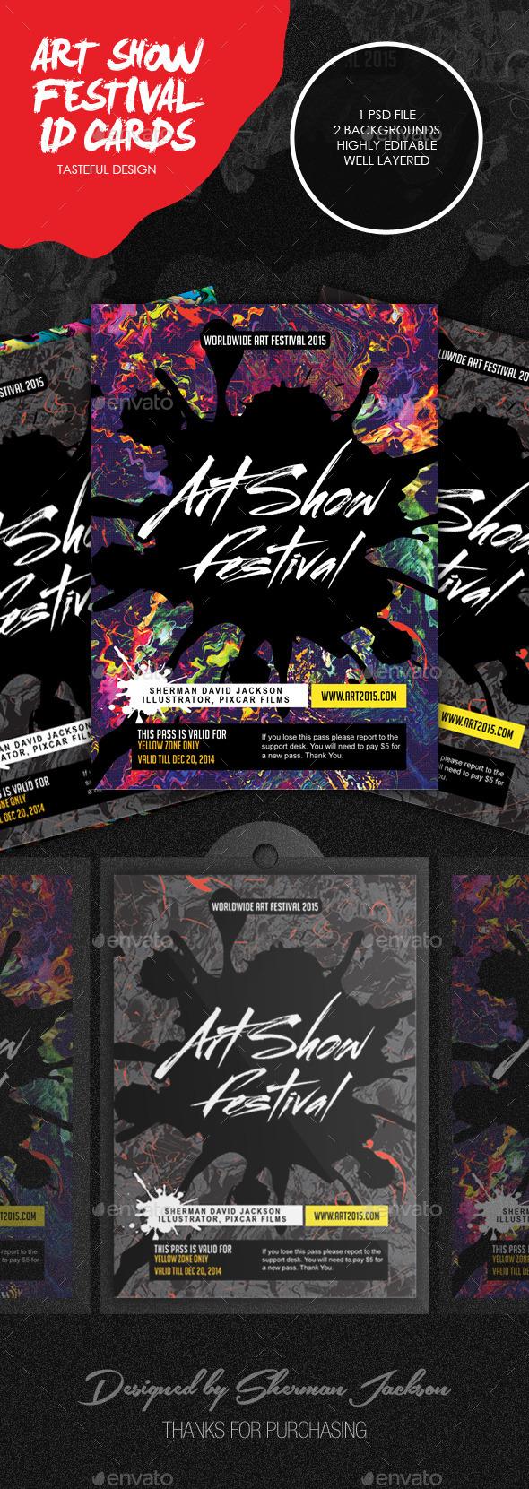 Art Show Festival ID Cards & Badge - Print Templates
