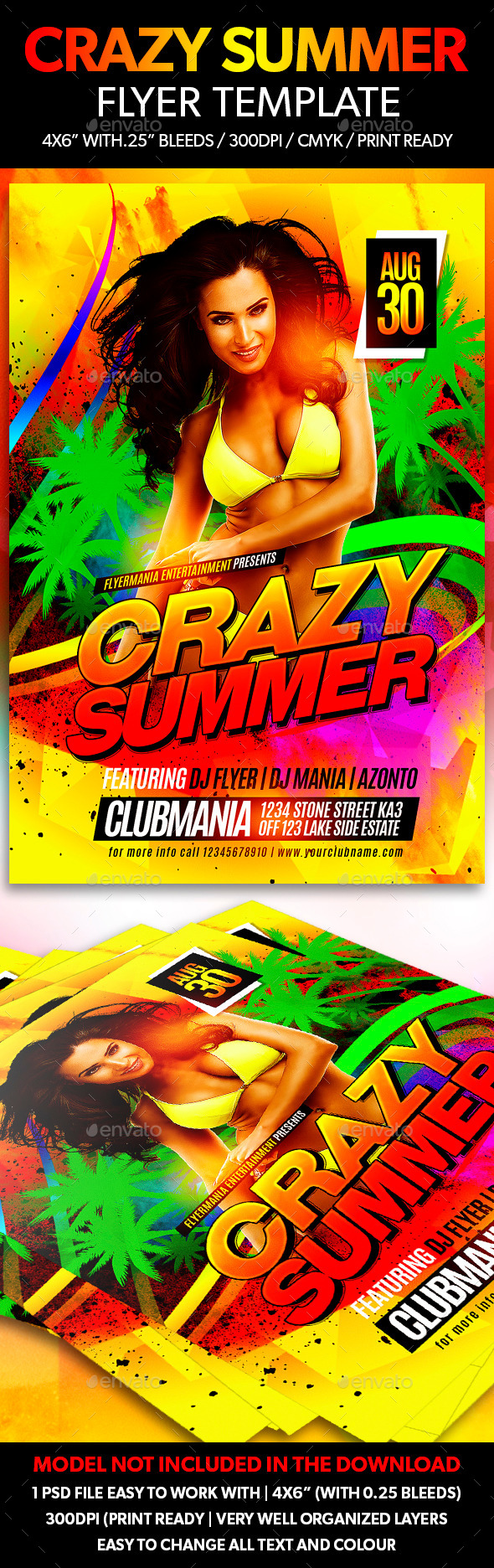 Crazy Summer Flyer Template - Clubs & Parties Events