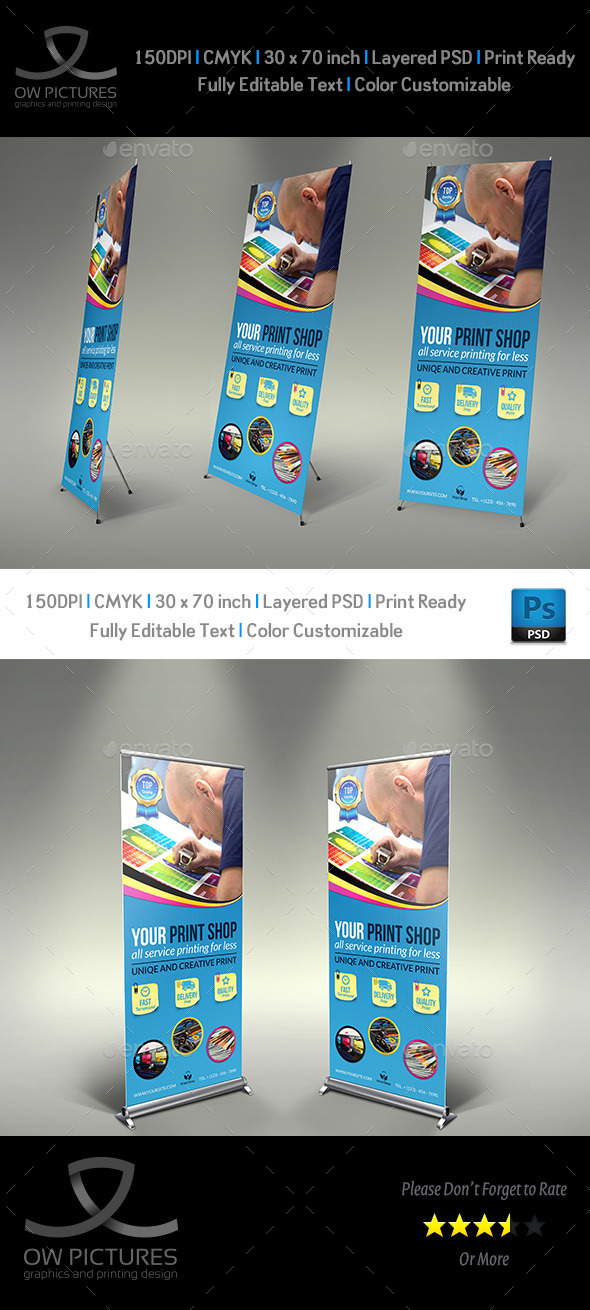 Print Shop Signage Rollup Banner Template - Signage Print Templates