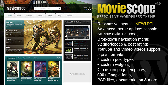 MovieScope – Responsive WordPress Portal Theme