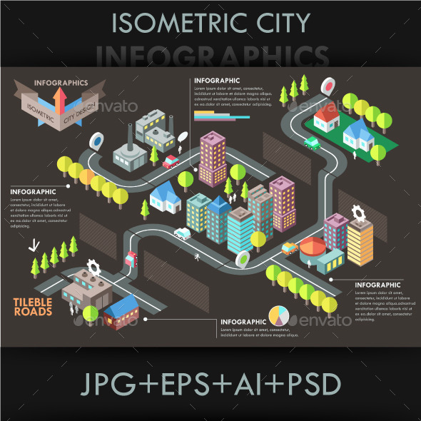 Modern Isometric City Template - Buildings Objects