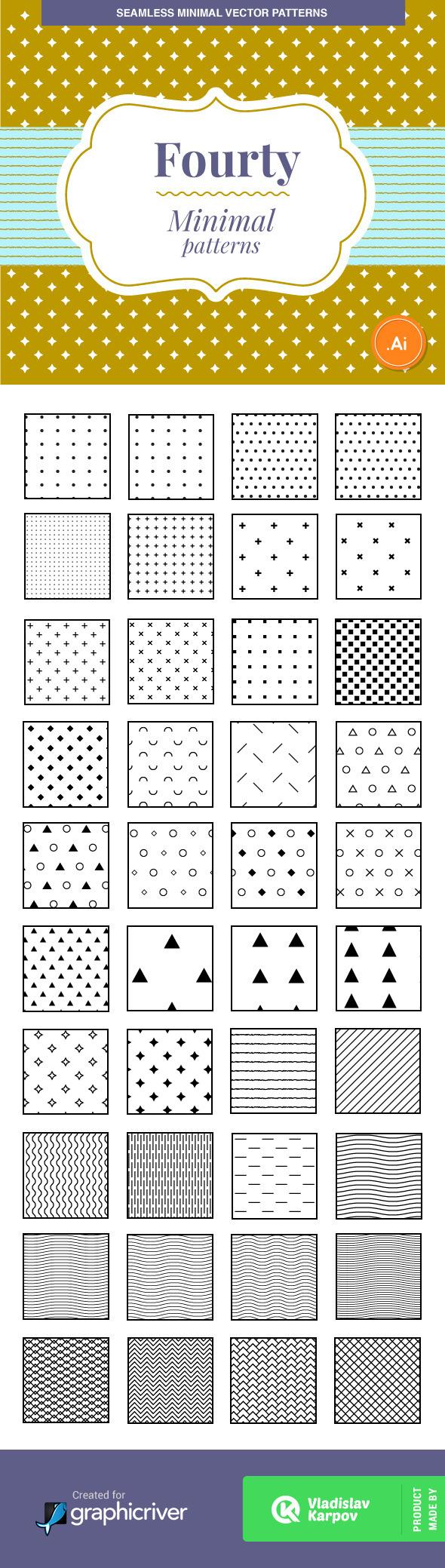 40 Minimal Vector Patterns - Textures / Fills / Patterns Illustrator