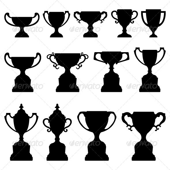 Trophy Cup Award Silhouette Black - Man-made Objects Objects