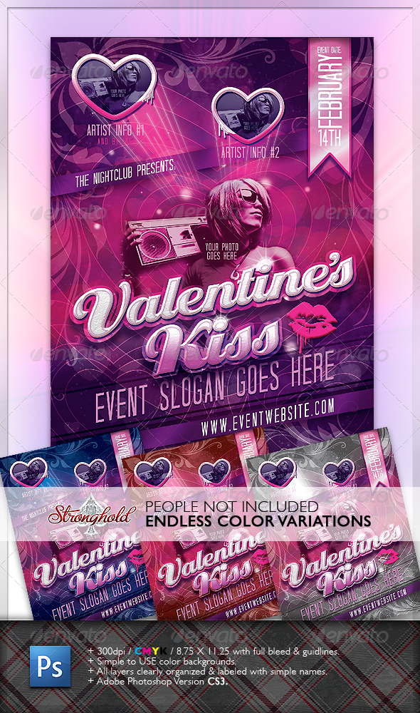 Valentine's Kiss Flyer - Clubs & Parties Events