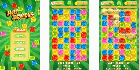 Hot Jewels - HTML5 Mobile Game (Capx) - CodeCanyon Item for Sale