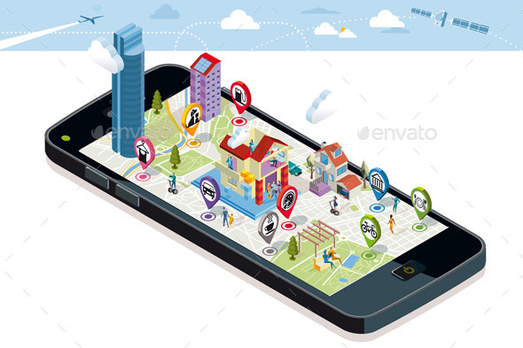 City Map with Icons and Buildings - Technology Conceptual
