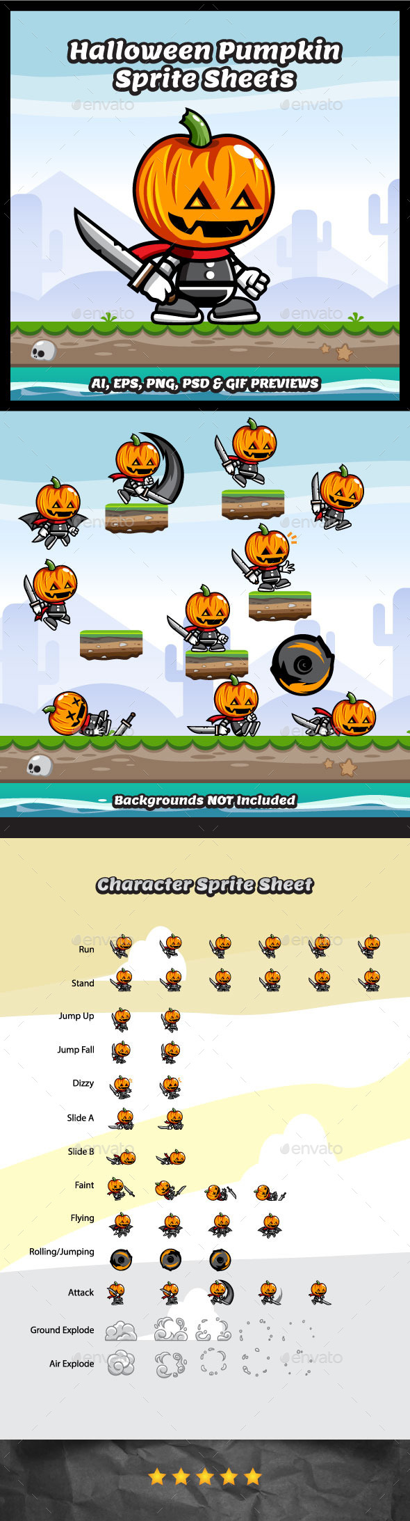 Halloween Pumpkin Game Character - Sprites Game Assets
