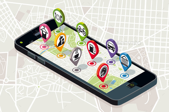 City Map with Services Icons - Technology Conceptual