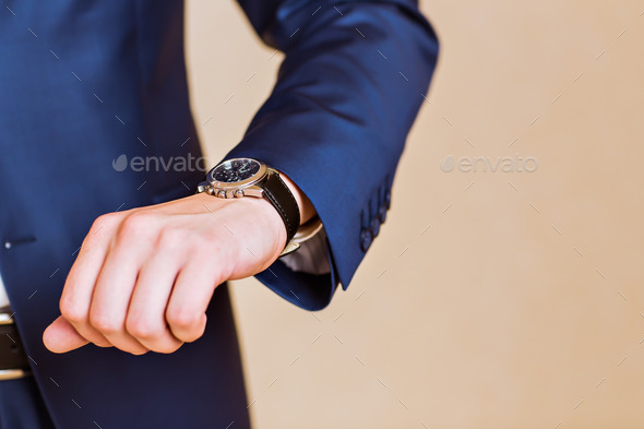 men's hand with a watch. - Stock Photo - Images