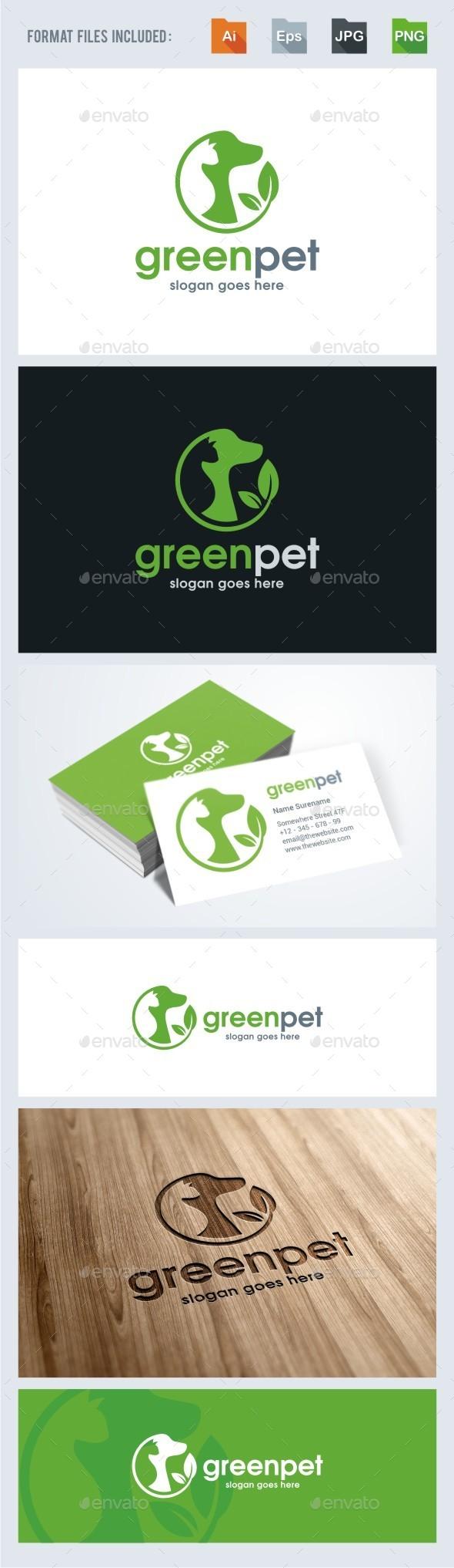Green Pet - Pet Care Logo Template - Animals Logo Templates