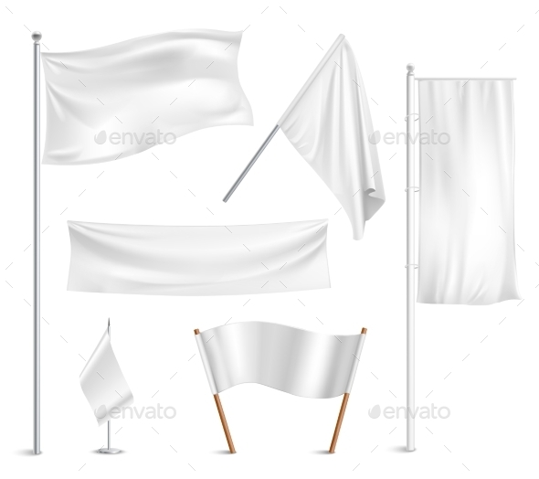 White Flags Pictograms Collection - Man-made Objects Objects