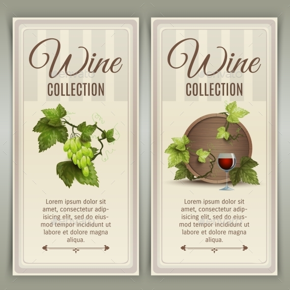 Wine Vertical Banners Set - Food Objects