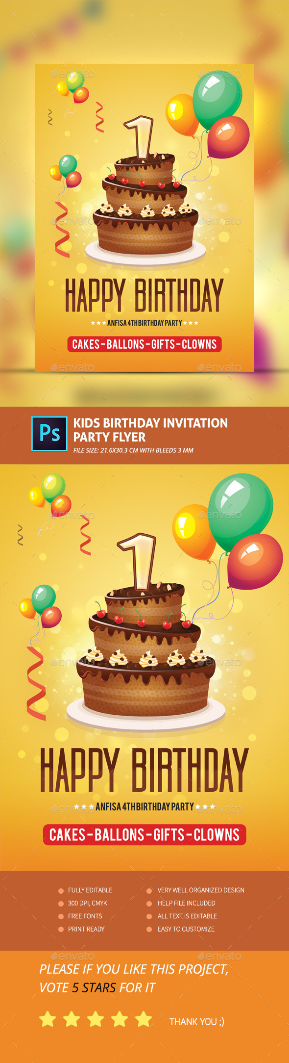 Kids Birthday Invitation Party Flyer - Clubs & Parties Events