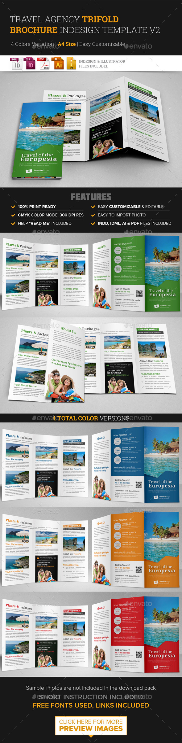 trifold brochure template indesign - travel trifold brochure indesign template v2 by