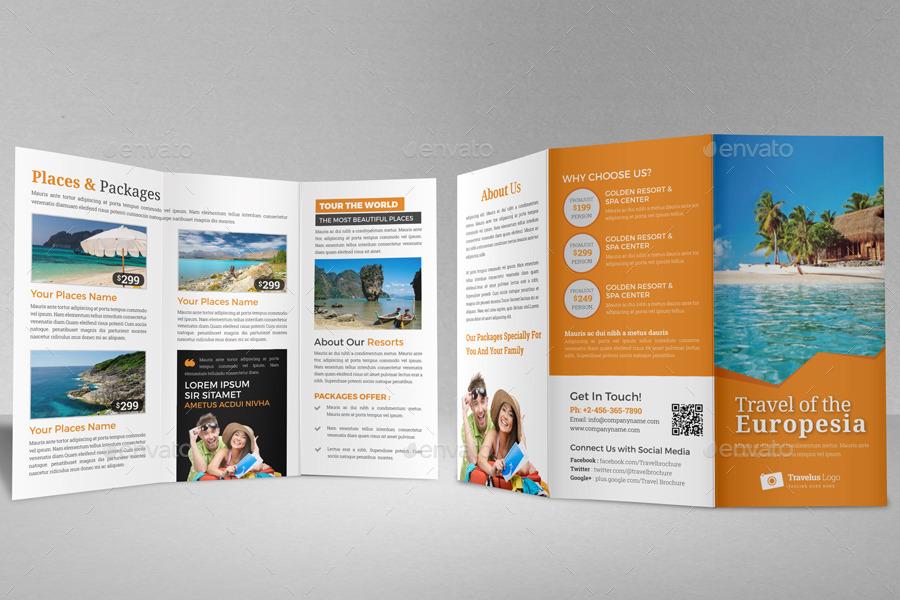 Travel Trifold Brochure Indesign Template V2 By Janysultana