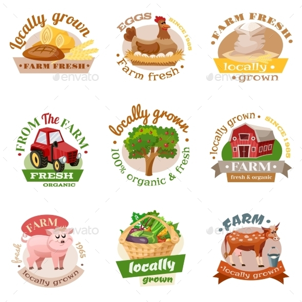 Farm Flat Emblem Set  - Food Objects