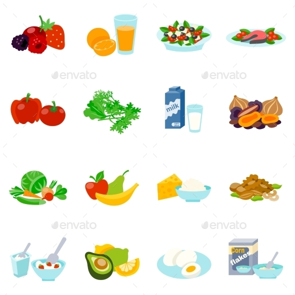 Healthy Food Flat Icons Set - Food Objects