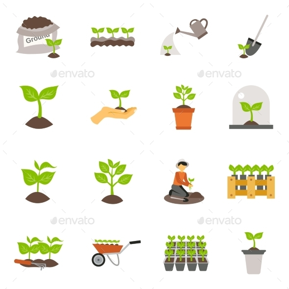 Seedling Flat Icons Set - Seasonal Icons