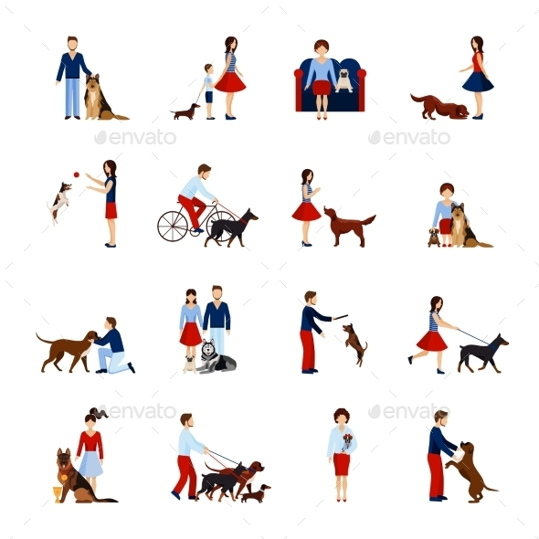 People With Dogs Set - Animals Characters