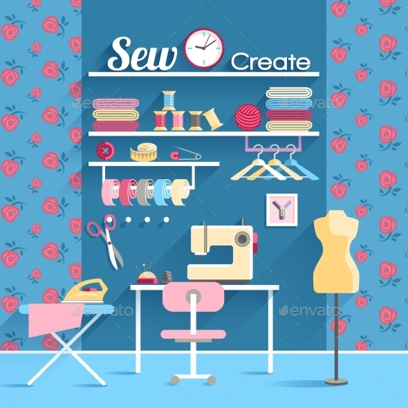 Sewing Room Concept Design Poster - Backgrounds Decorative