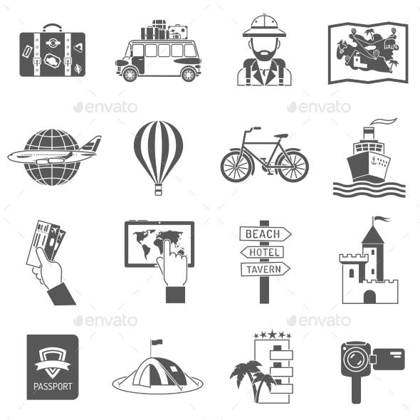 Travel Icons Black Set - Miscellaneous Icons