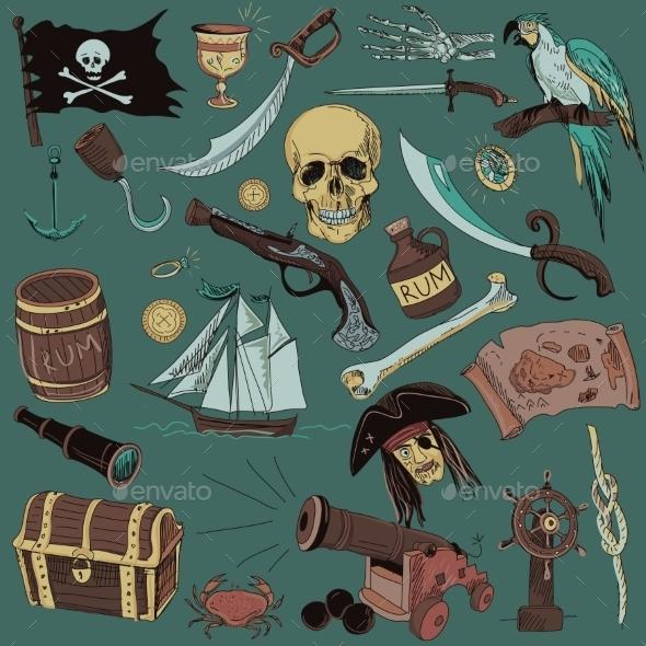 Colored Pirates Set - Miscellaneous Vectors