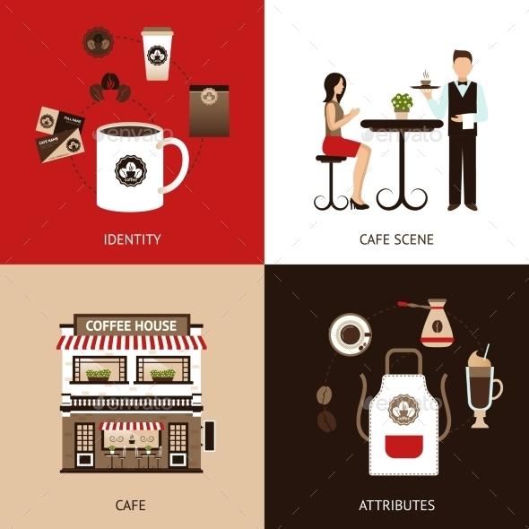 Coffee House Flat Set - Food Objects