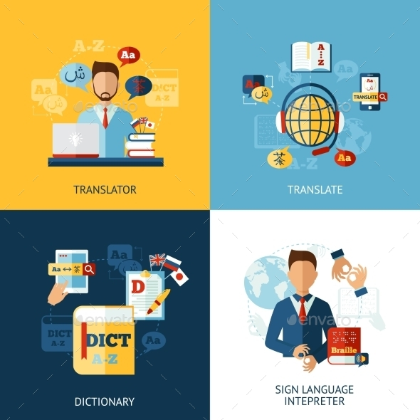 Language Translator Set - Miscellaneous Vectors