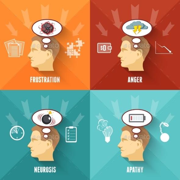 Stress Concept 4 Flat Icons Square  - Health/Medicine Conceptual