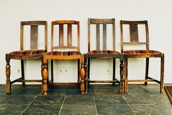 Four Striped Chairs - Stock Photo - Images