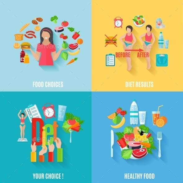 Diet 4 Flat Icons Square Banner - Health/Medicine Conceptual