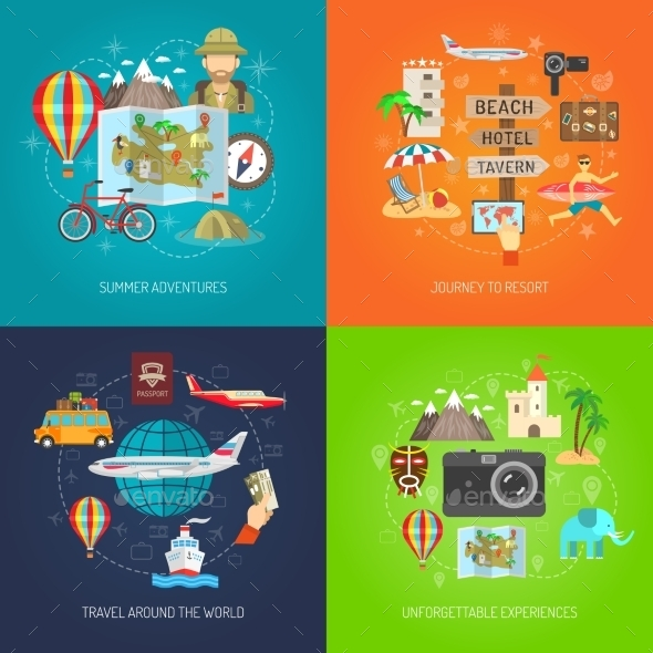 Travel Flat Decorative Icon Set  - Travel Conceptual