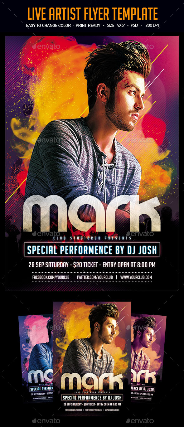 Live Artist Flyer Template - Clubs & Parties Events