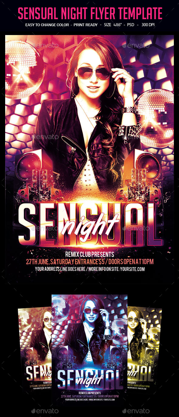 Sensual Night Flyer Template - Clubs & Parties Events