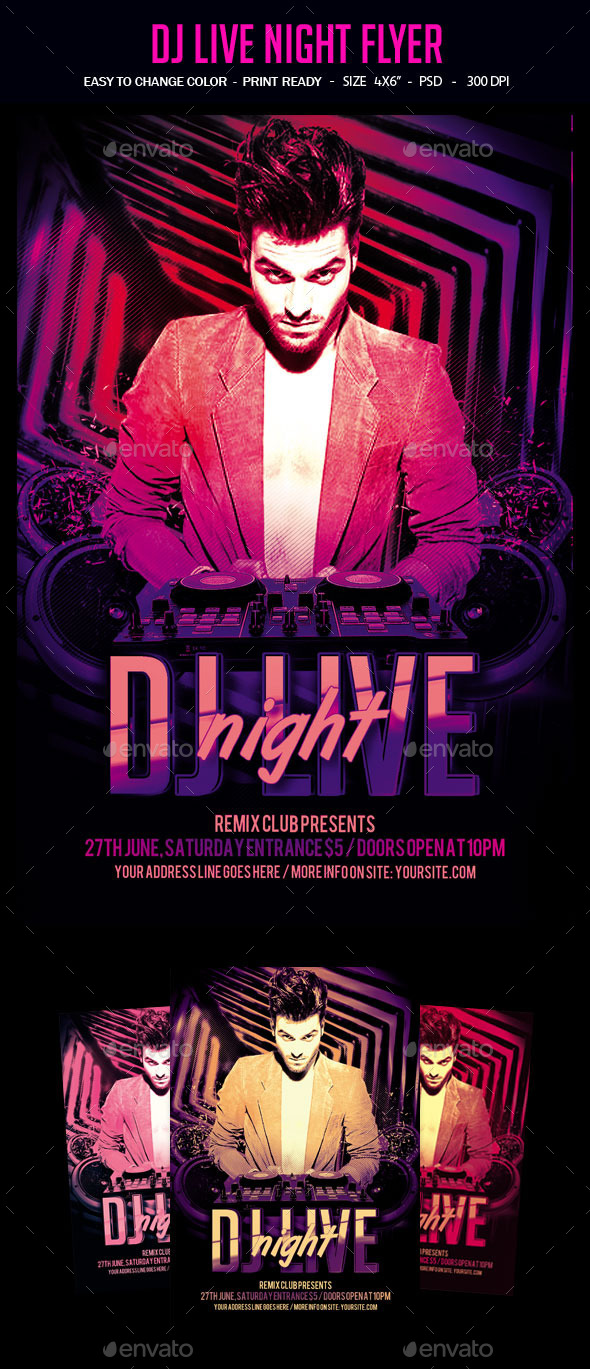 DJ Live Night Flyer - Clubs & Parties Events