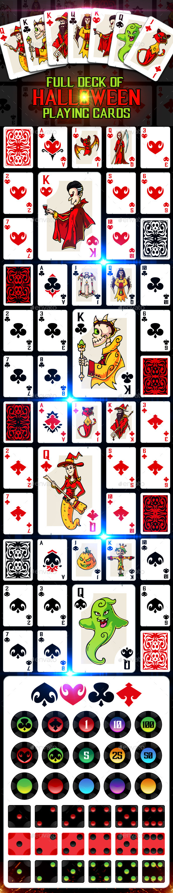 Full Deck of Halloween Playing Cards - Miscellaneous Game Assets