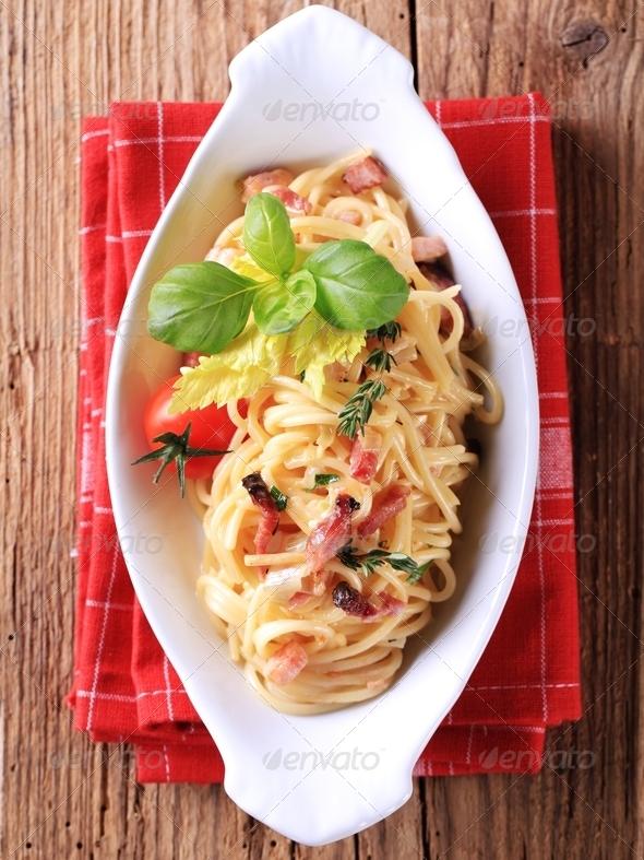 Spaghetti alla carbonara - Stock Photo - Images