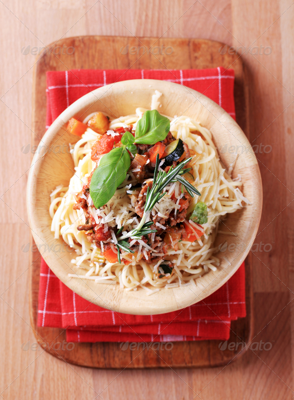 Spaghetti and ragu alla Bolognese - Stock Photo - Images