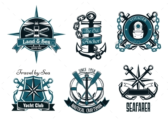Retro Marine and Nautical Heraldic Emblems - Decorative Symbols Decorative