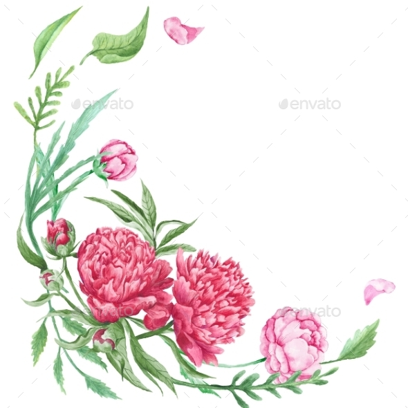 Peony Summer Floral Corner - Flourishes / Swirls Decorative