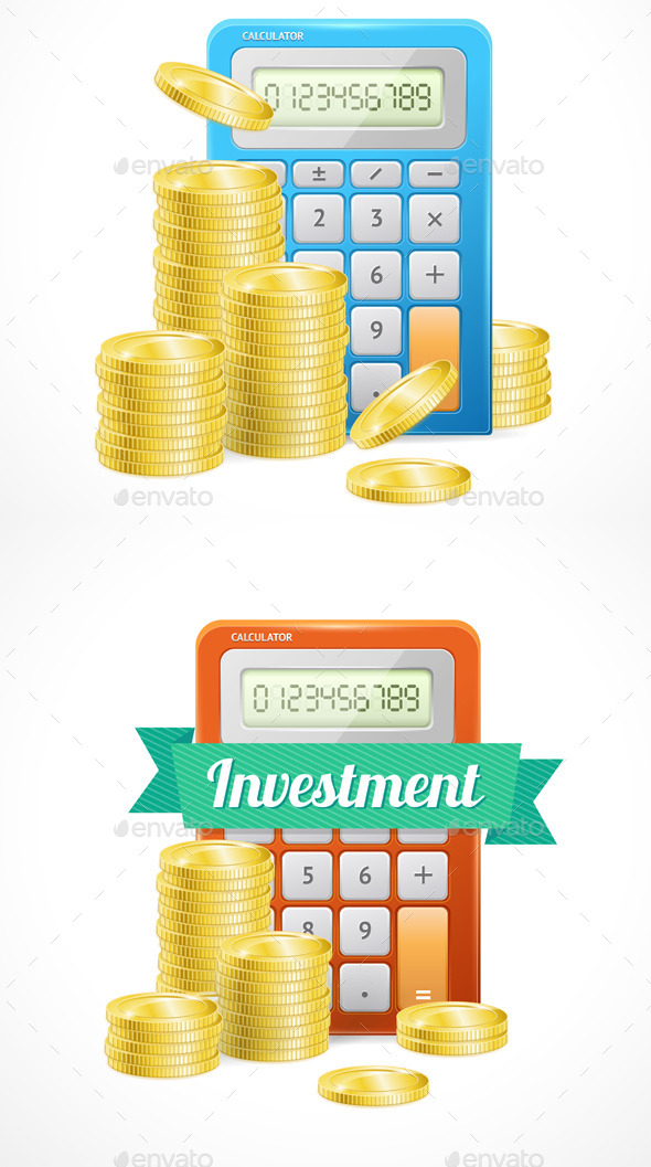 Columns of Gold Coins with Calculator  - Concepts Business