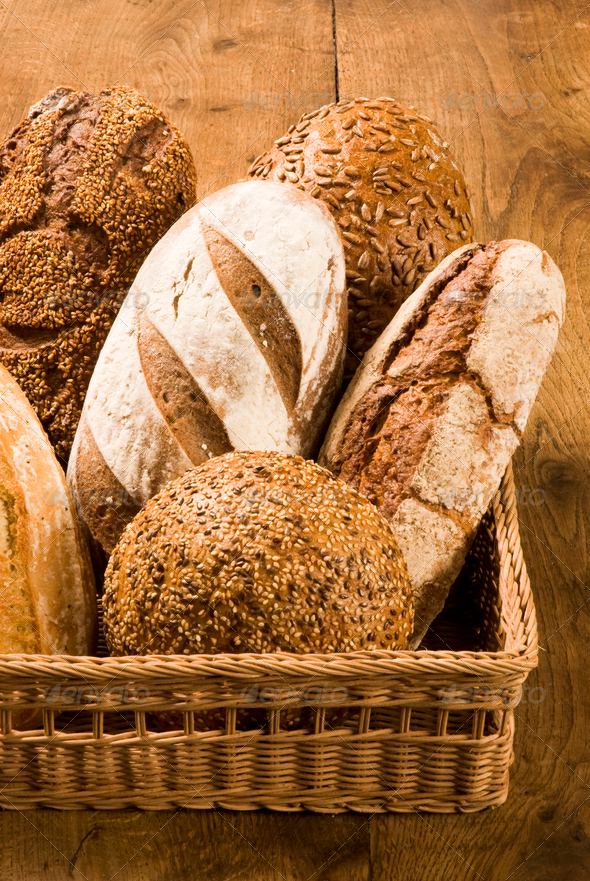 Bread loaves in a basket - Stock Photo - Images