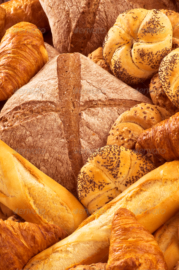 Variety of fresh bread and pastry - Stock Photo - Images