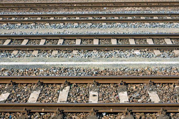 Parallel railroad tracks - Stock Photo - Images